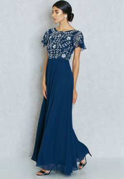 Frock and Frill Front Split Embroidered Gown