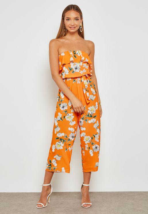 Floral Print Bandeau Culotte Jumpsuit