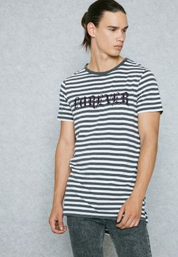 Forever Striped Embroidered  T-Shirt