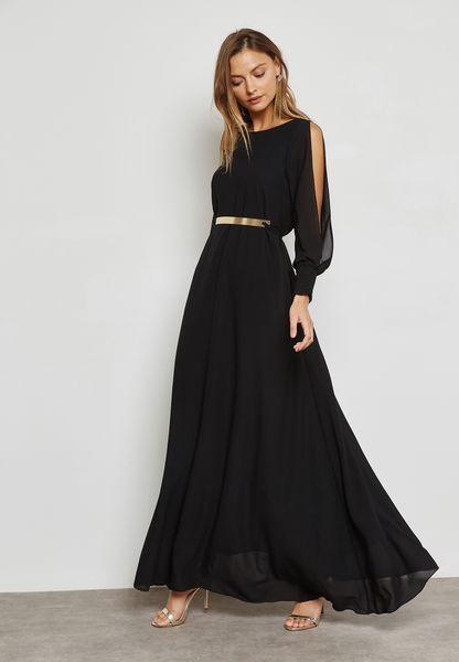 Belted Cold Shoulder Slit Dress