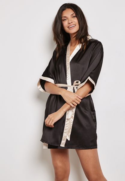 Contrast Trim Belted Robe