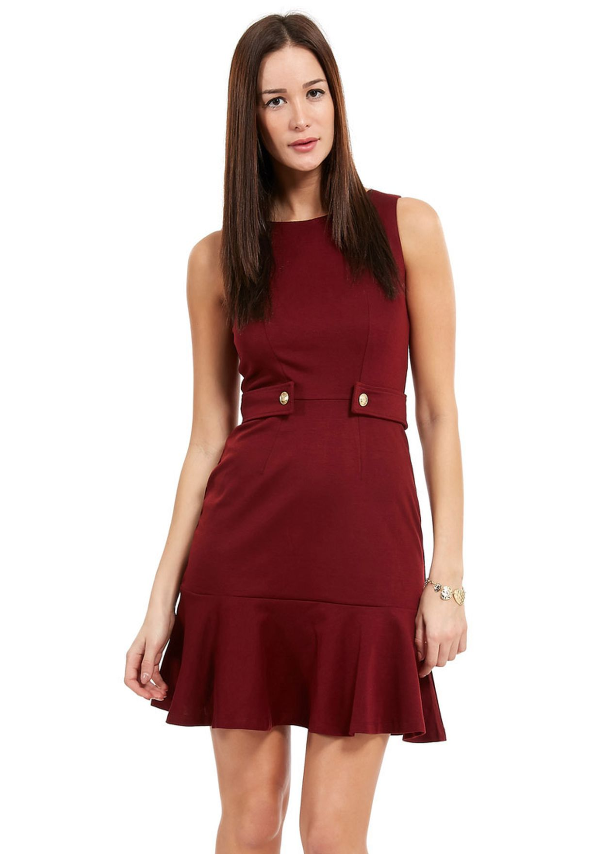 054992050c2 Shop Ella red Waist Button Dress for Women in Bahrain - EL314AT17OLE