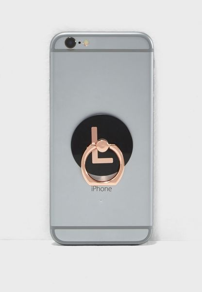 L Letter Rose Gold Phone Ring