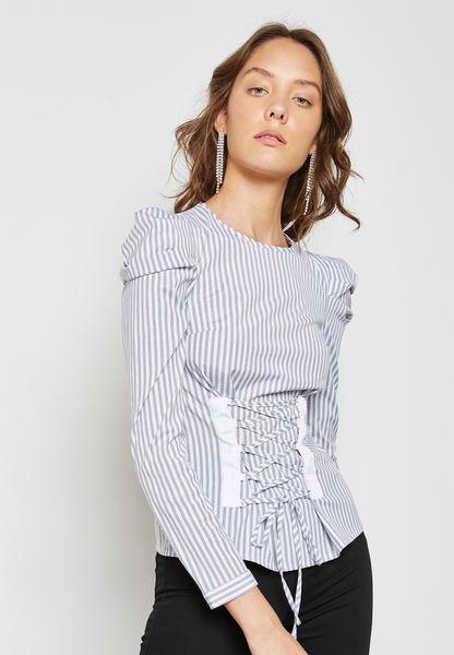 High Neck Striped Corset Top