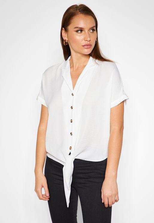 Front Tie Crop Shirt