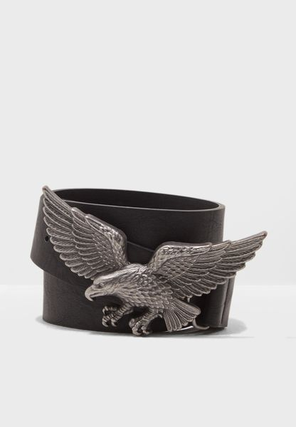 Eagle Buckle Leather Belt