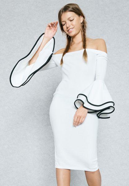Ruffle Cuffed Bardot Dress