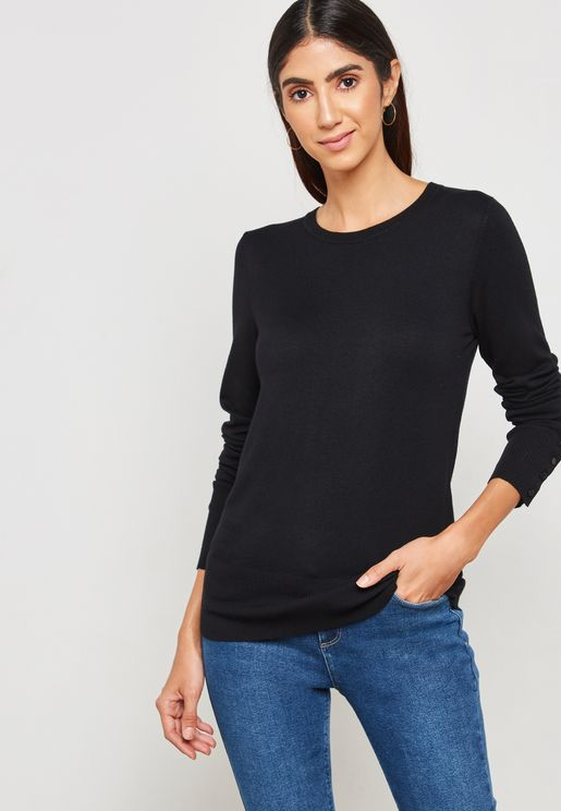 Side Slit Crew Neck Sweater
