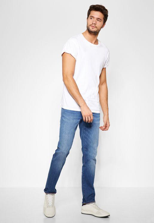 Mid Wash Stretch Slim Fit Jeans