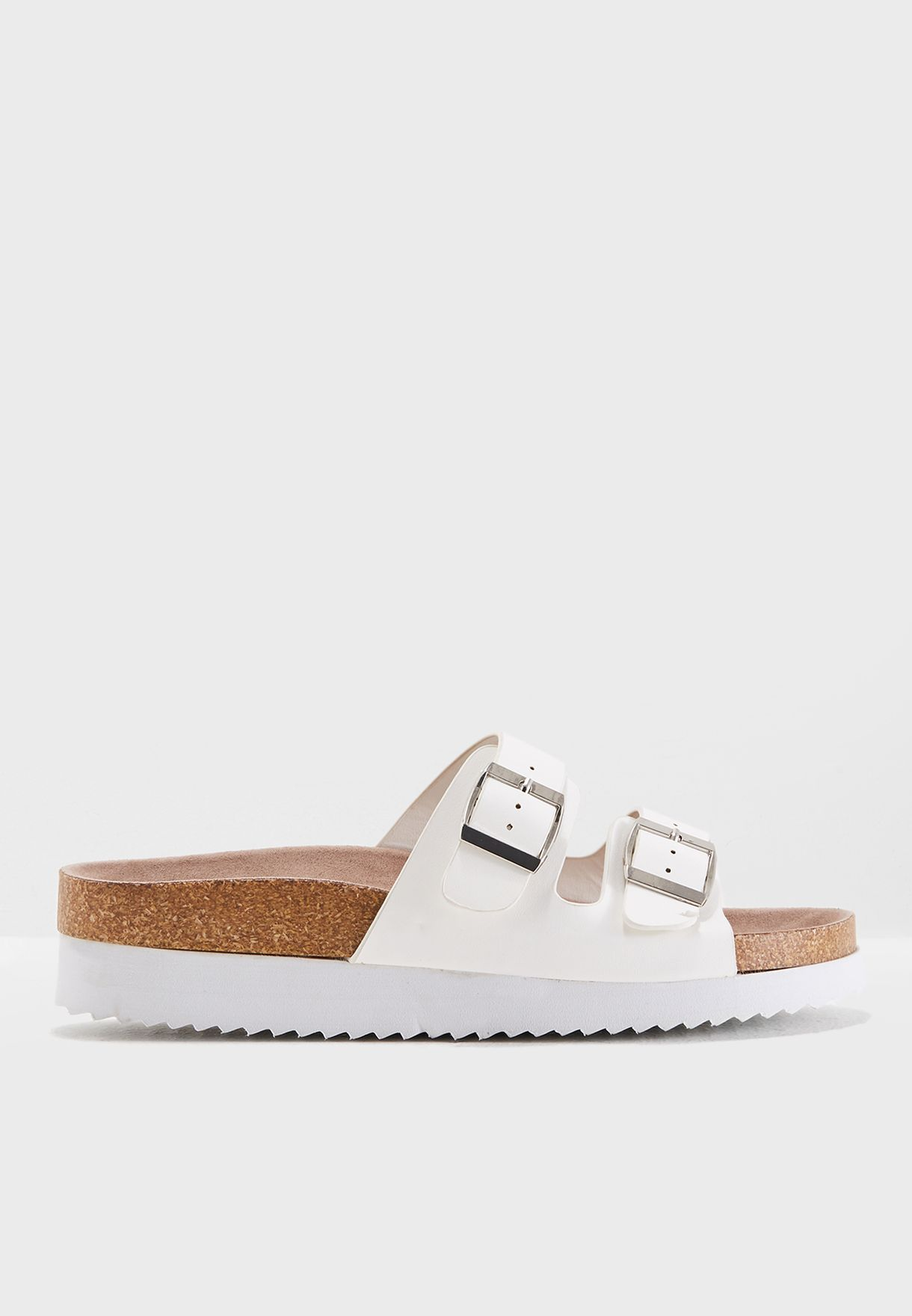 a28ca65db6e3 Shop New Look white Wide Fit White Double Buckle Strap Footbed ...