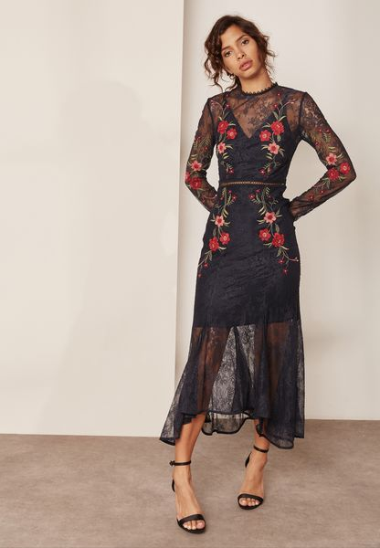 High Neck Embroidered Maxi Dress