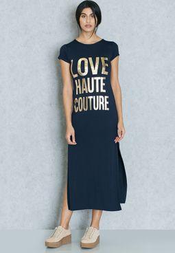 Slogan Side Slit Midaxi Dress