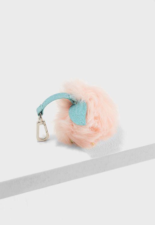 Peach Pom-Pom Keyring