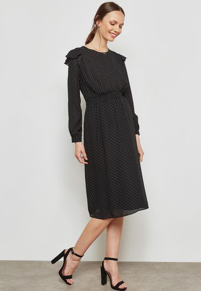 Polka Dot Shirred Waist Midi Dress