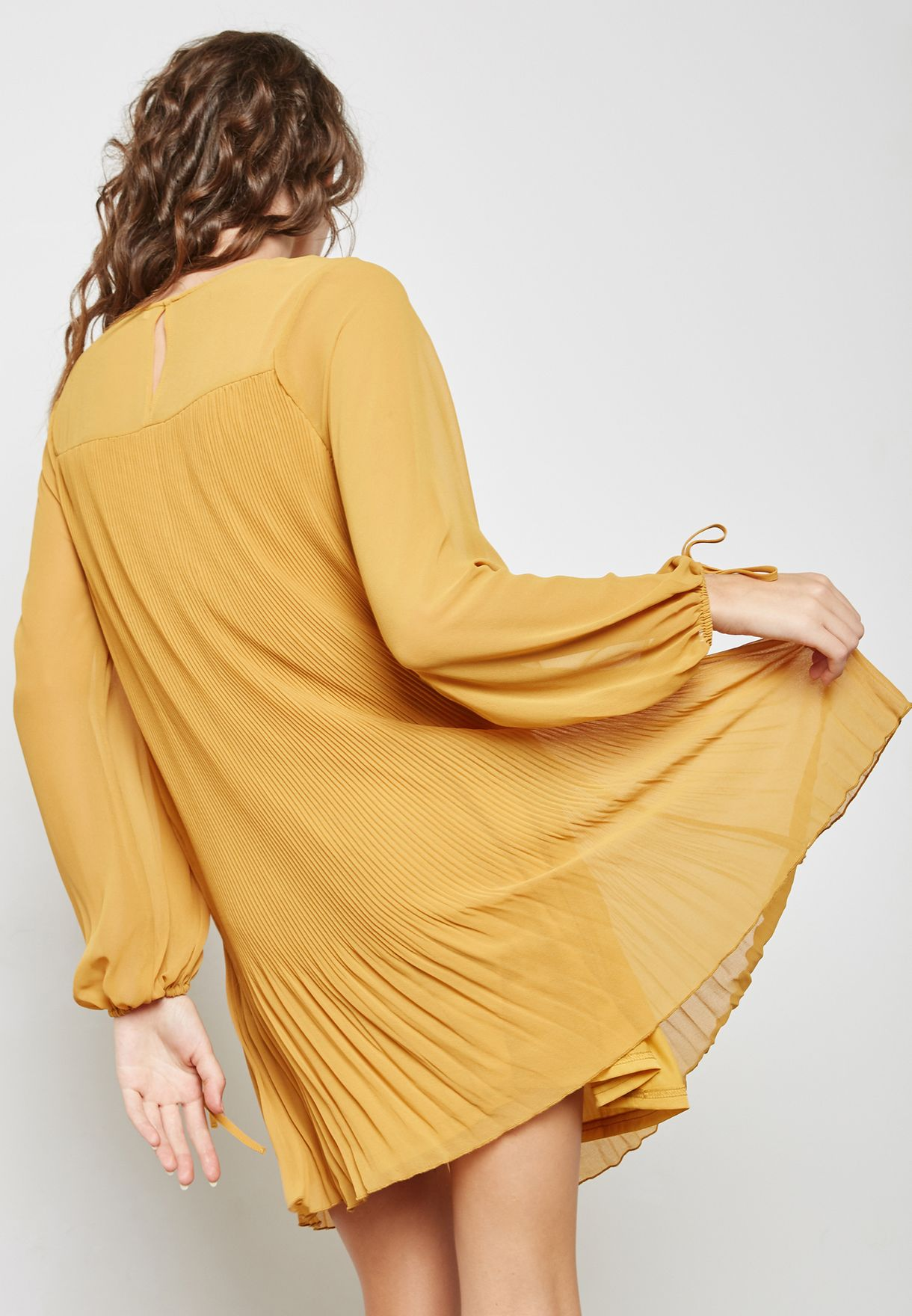 deb8a73643 Shop Mango yellow Bow Sleeve Pleated Dress 13027650 for Women in UAE ...