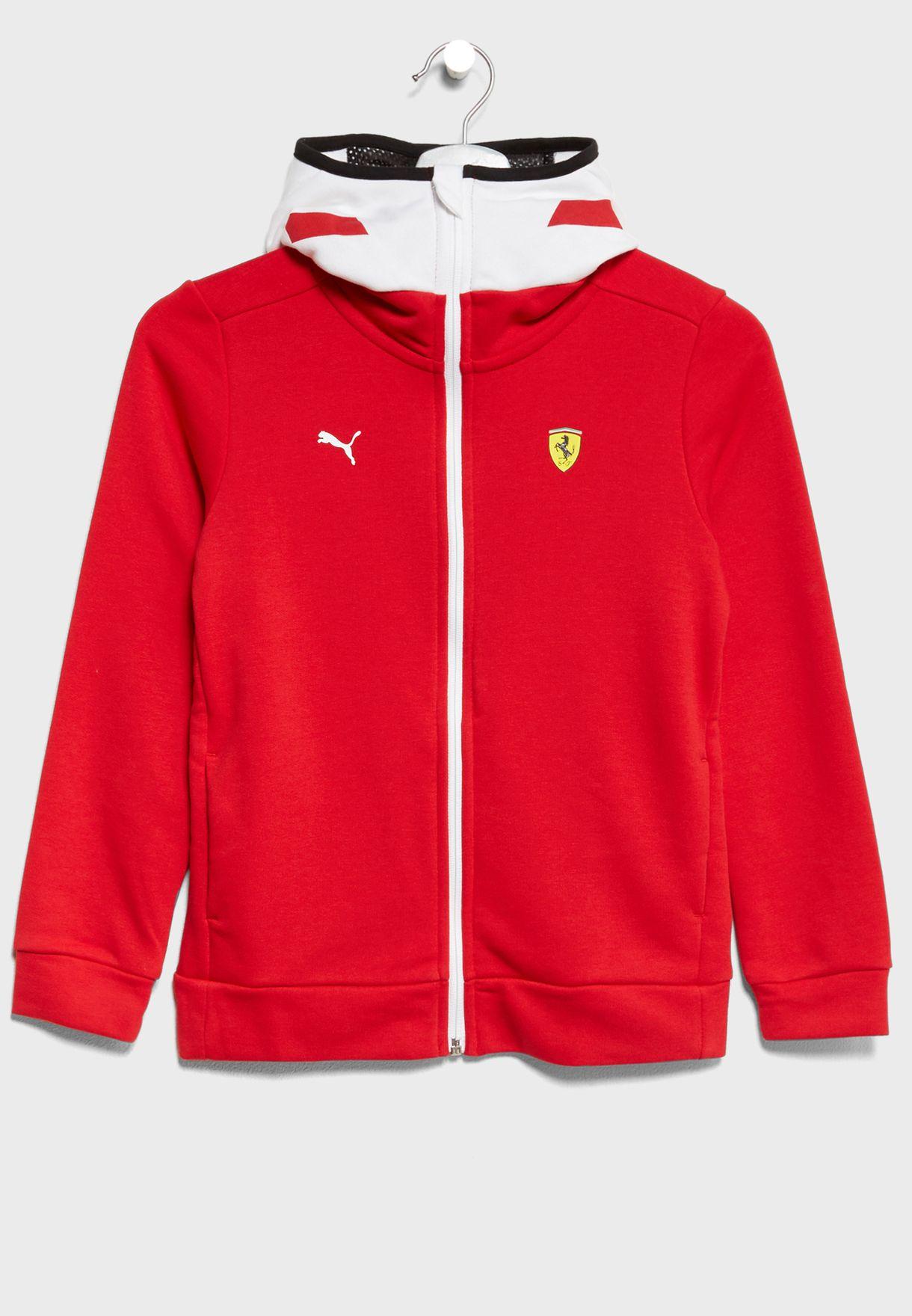 e9434896f1dd Shop PUMA red Kids Ferrari Graphic Hooded Jacket 76239701 for Kids ...