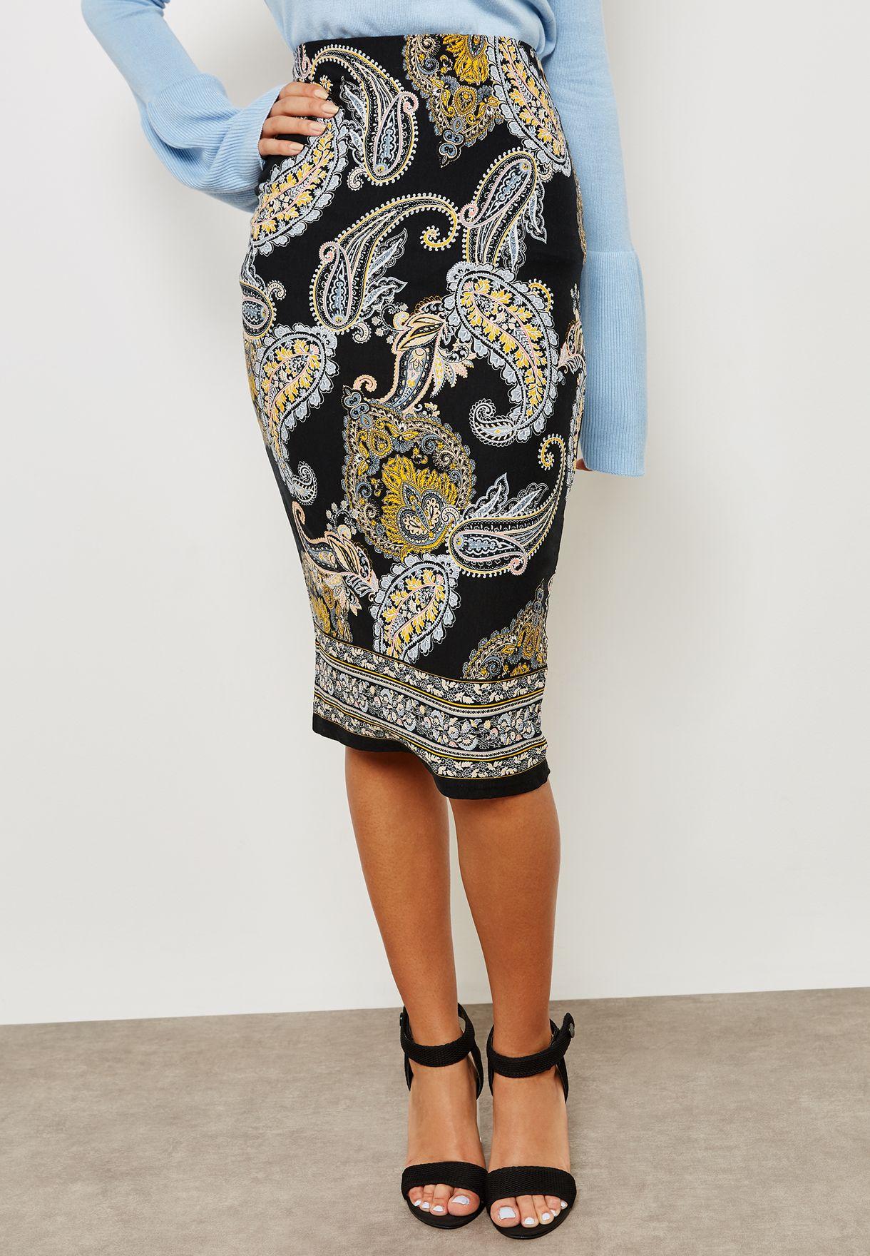 Paisley Print Skirt