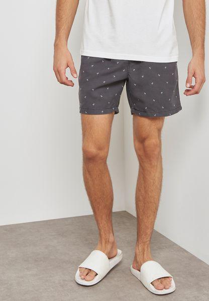 Micro Palms Print Swim Shorts