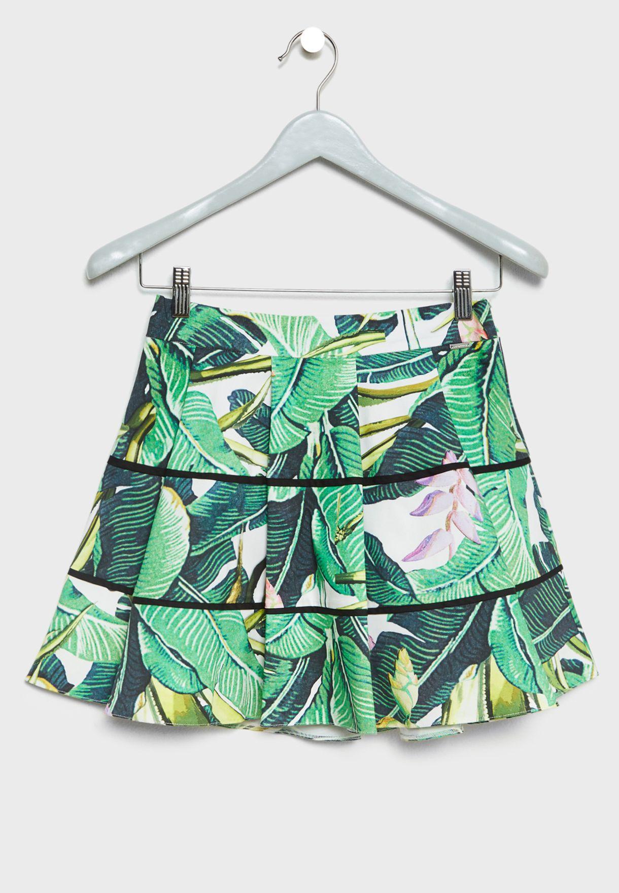 Teen Leaf Print Skirt