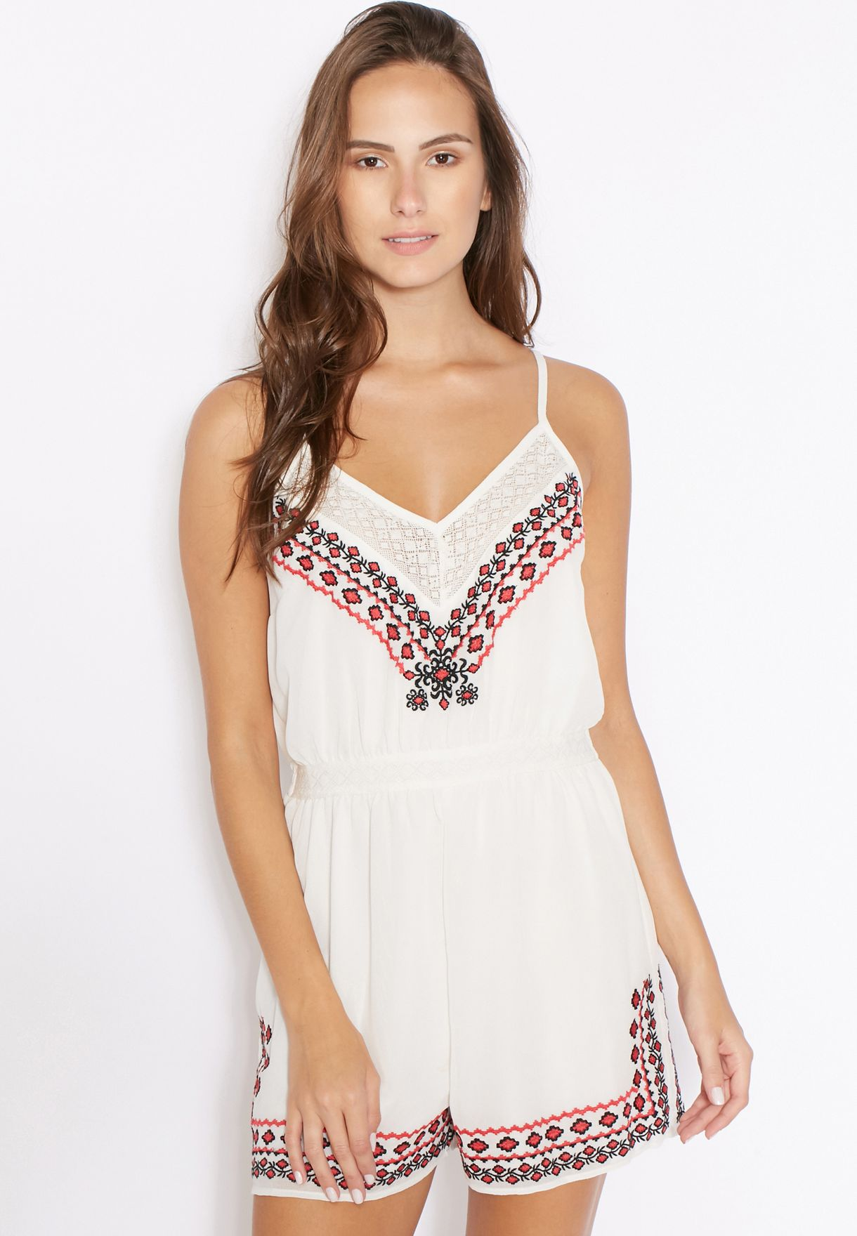46f5cd72699 Shop Miss Selfridge Petite white Tribal Embroidered Playsuit ...