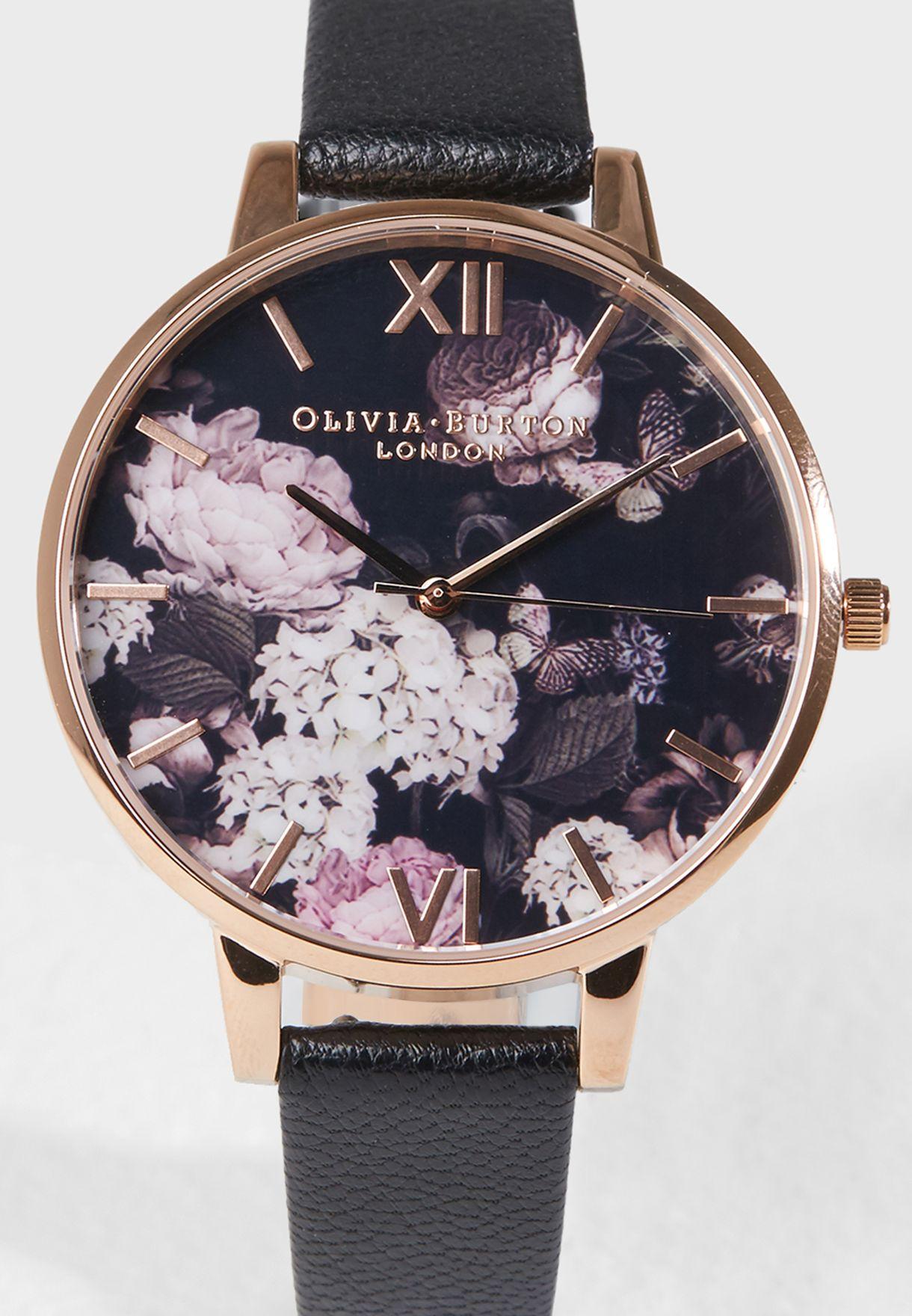 ساعة انالوج مزينة بأزهار