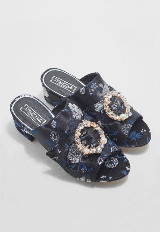 Buckle Low Heel Sandals