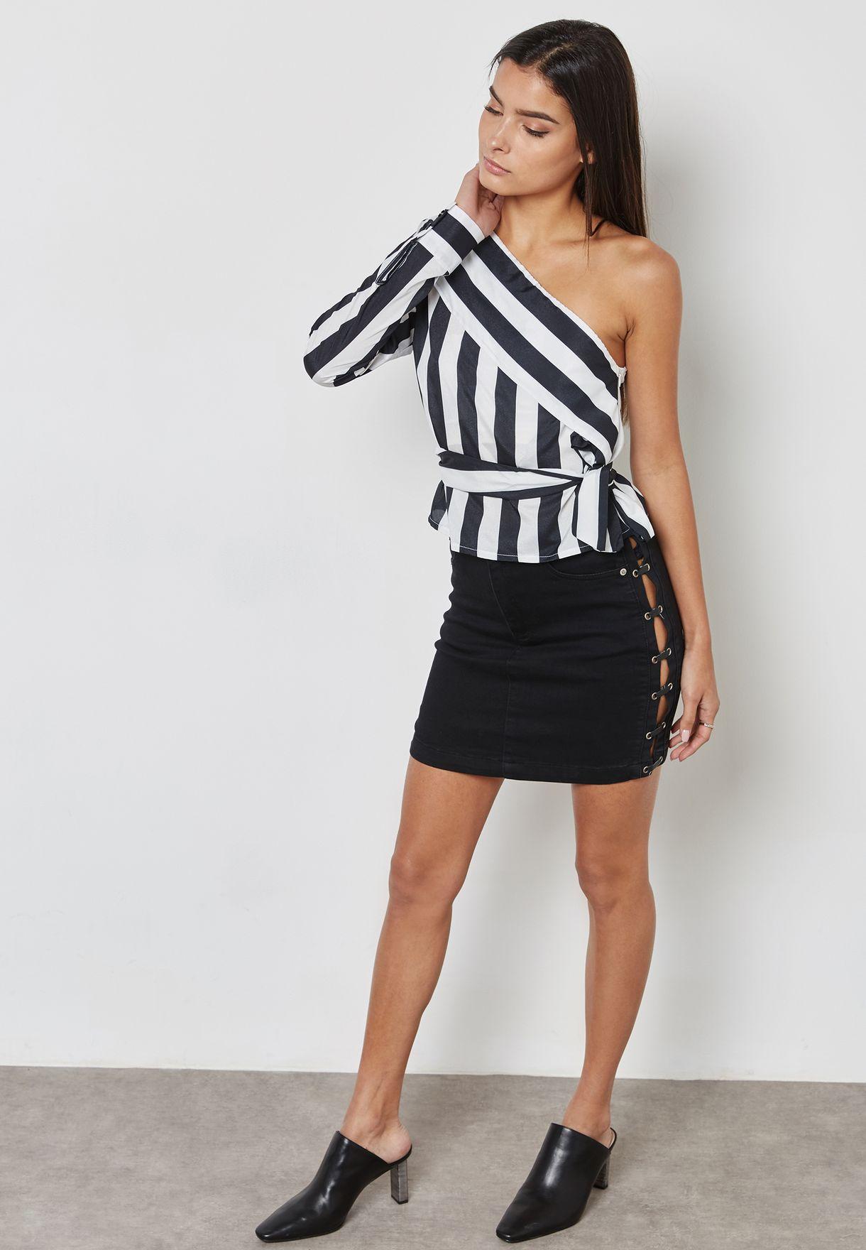 One Shoulder Striped Top