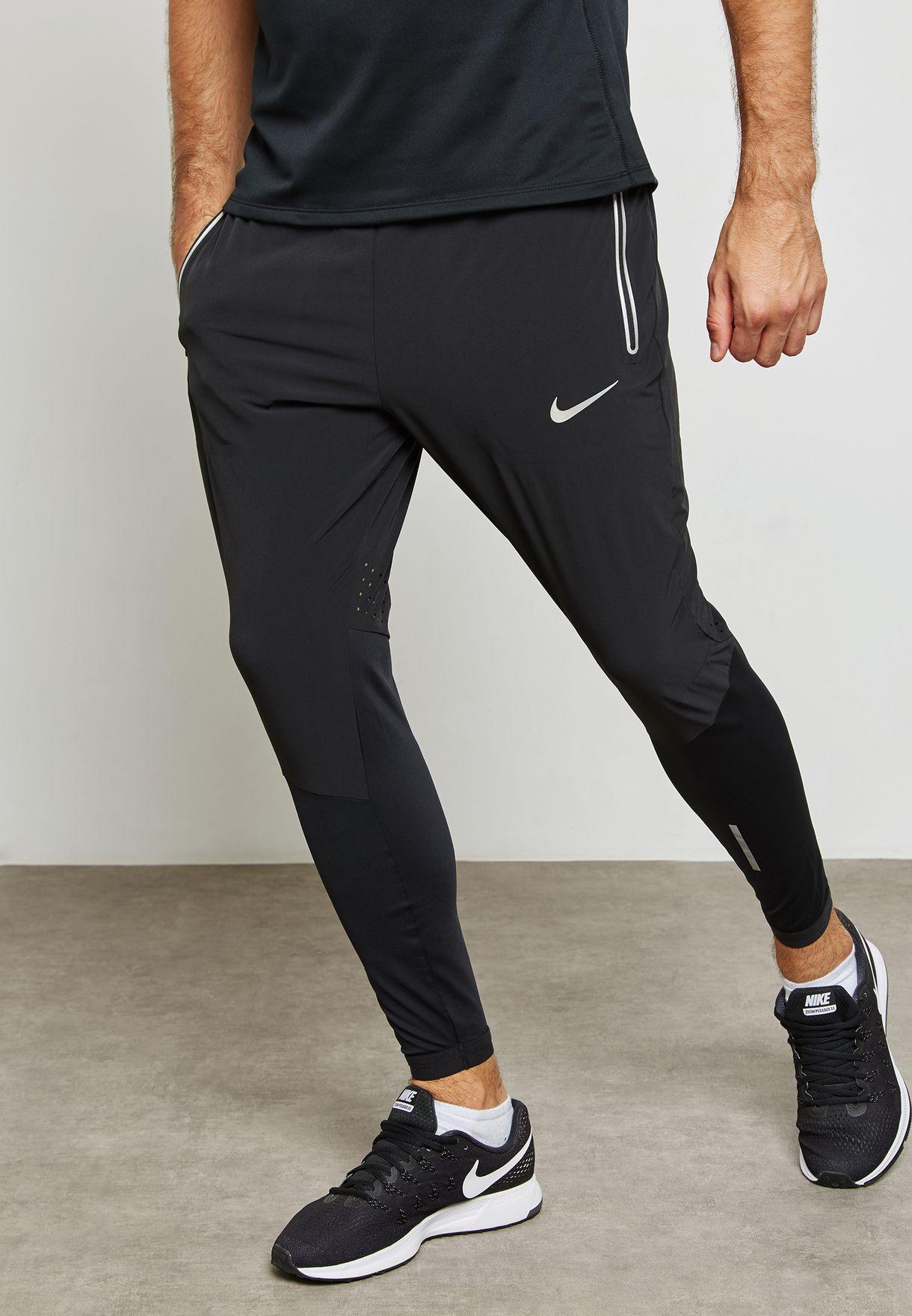 4364c7c8576b3 Shop Nike black Flex Swift Running Sweatpants 857840-010 for Men in ...