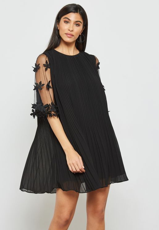 Sheer Sleeve Pleated Dress