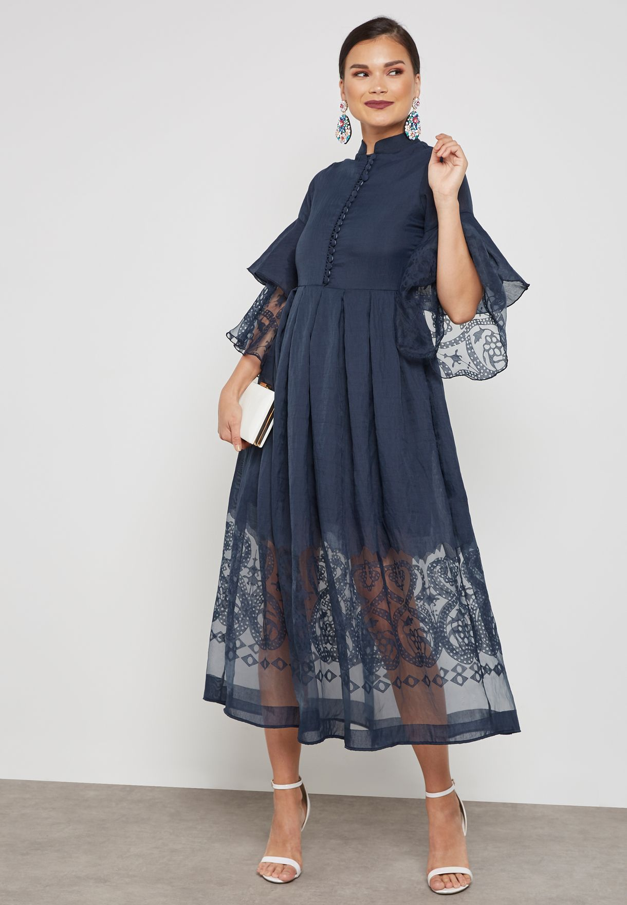 Tiered Sleeve Lace Illusion Dress