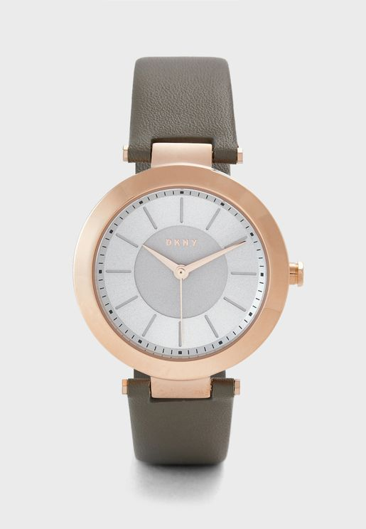 Stanhope Grey Leather Watch