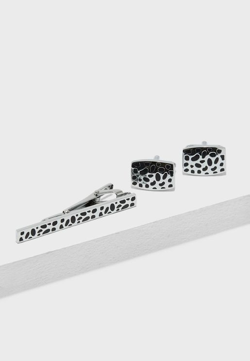 Leapord Print Cufflinks + Tie Pin Set