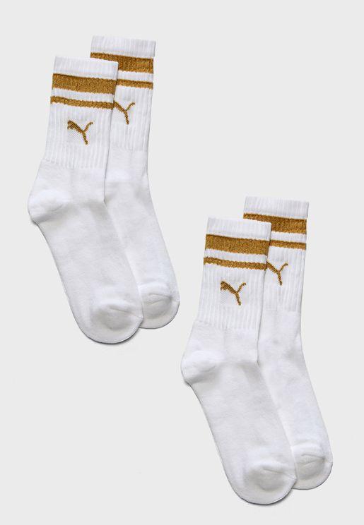 2 Pack Heritage Stripe Crew Socks