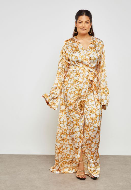 Baroque Print Wrap Front Maxi Dress