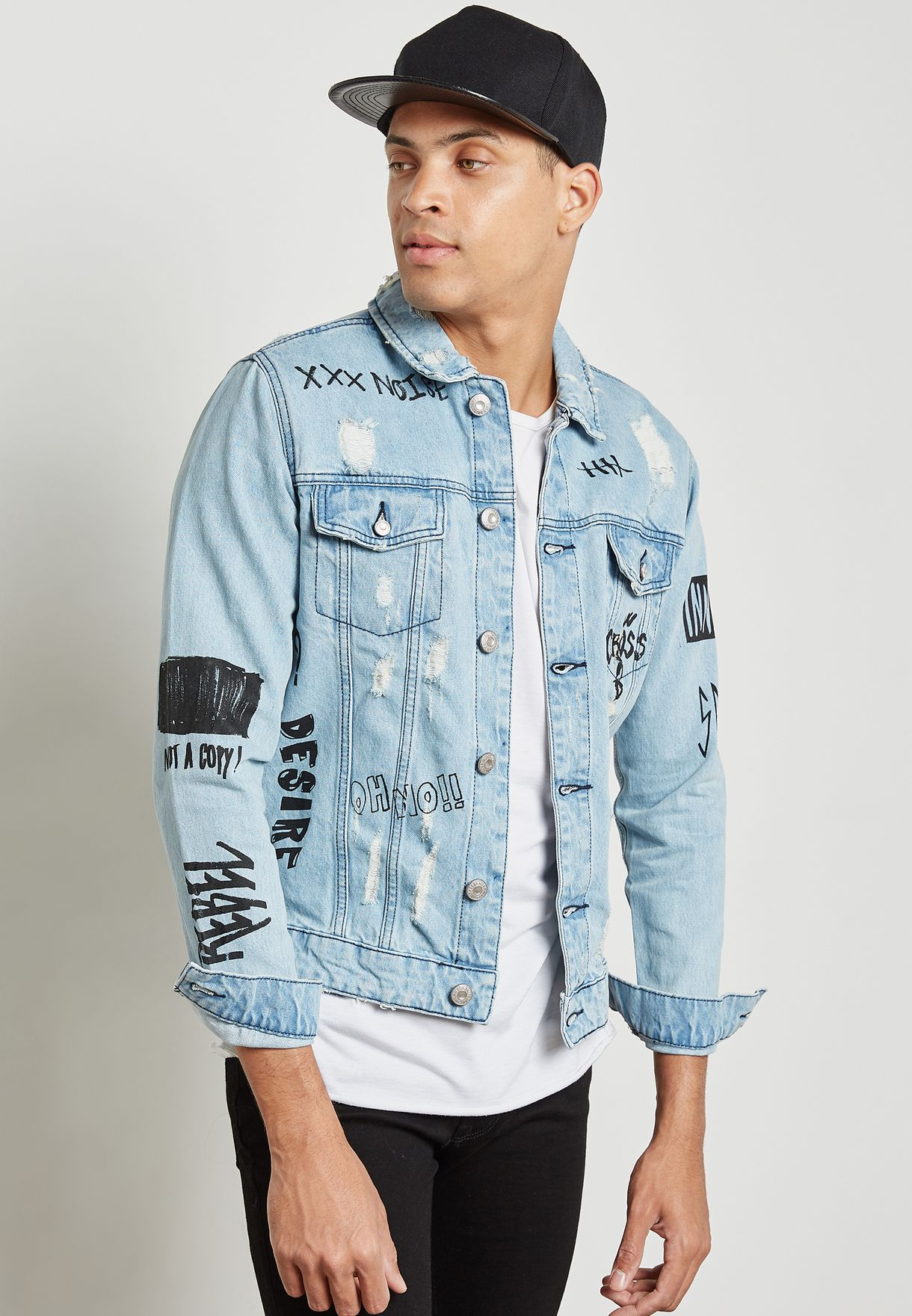 37eca87f6e5 Shop Only sons blue Doodle Denim Jacket 22009614 for Men in Kuwait ...