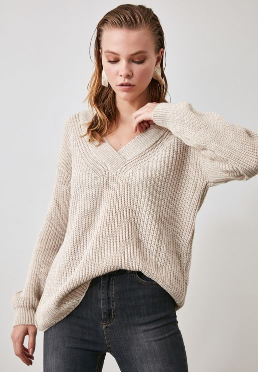 V-Neck Oversized Sweater