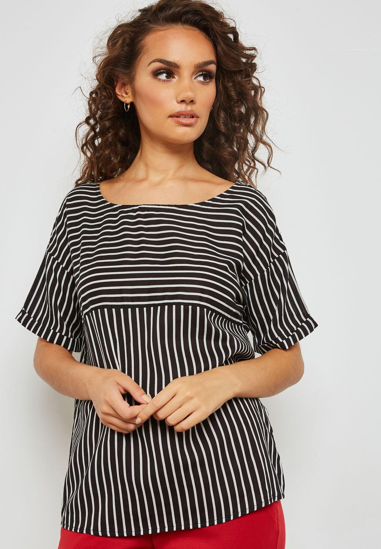 d57357635c5 Shop Jacqueline De Yong prints Striped Top 15159461 for Women in UAE ...