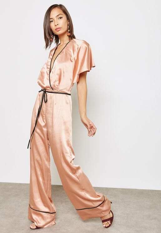Satin Wrap Jumpsuit