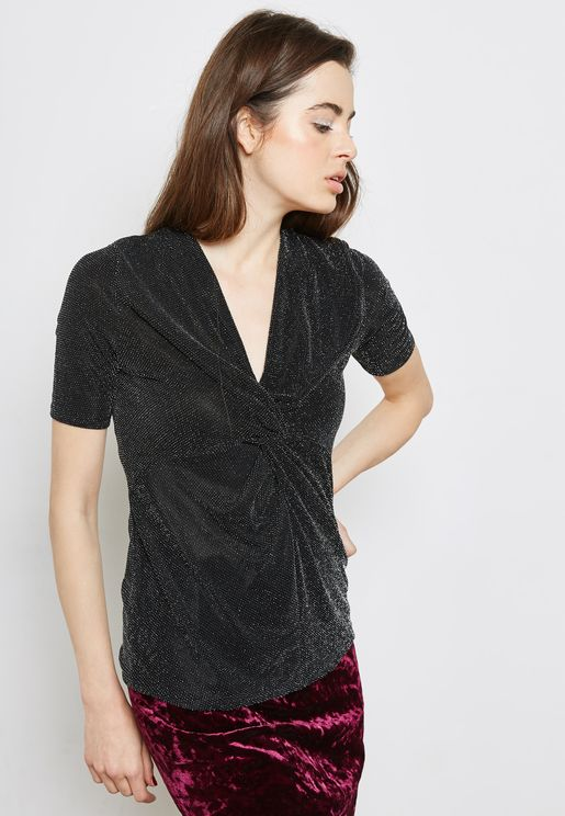 Front Twisted Shimmer Top