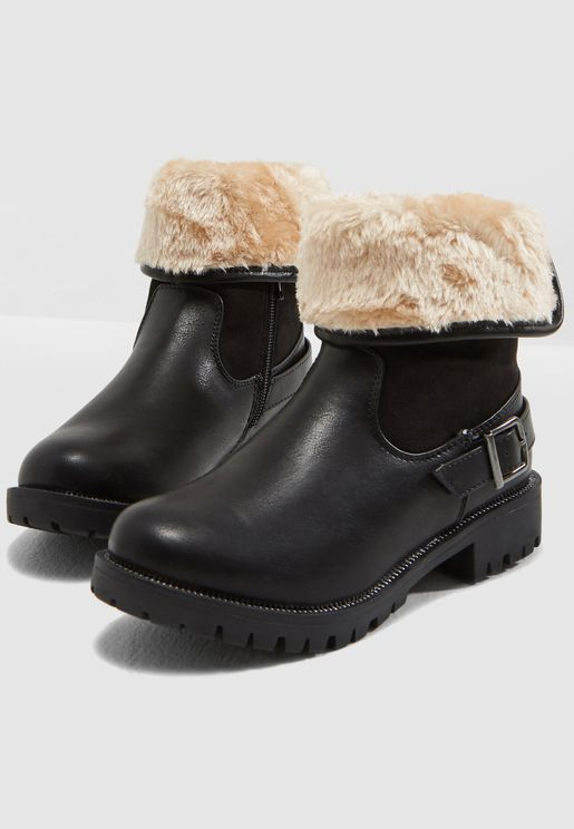 Youth Fur Detail Boots