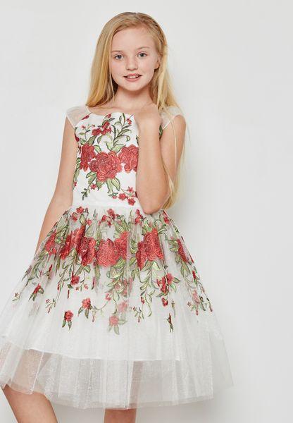 Tween Embroidered Floral Dress