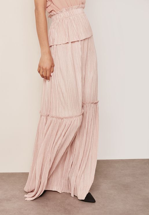 Plisse Tiered Maxi Skirt