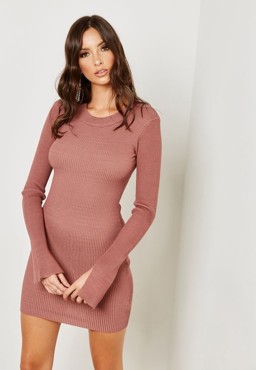 Long Sleeve Ribbed Knitted Midi Bodycon Dress