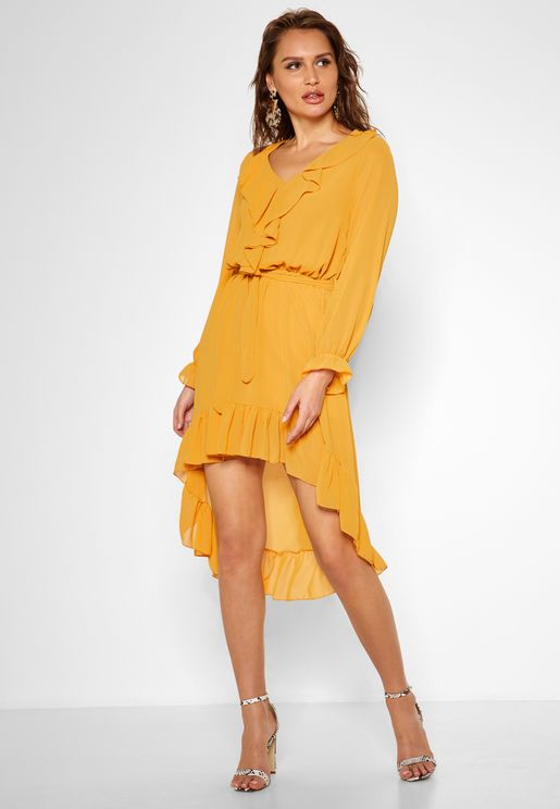 Ruffle Trim High Low Midi Dress