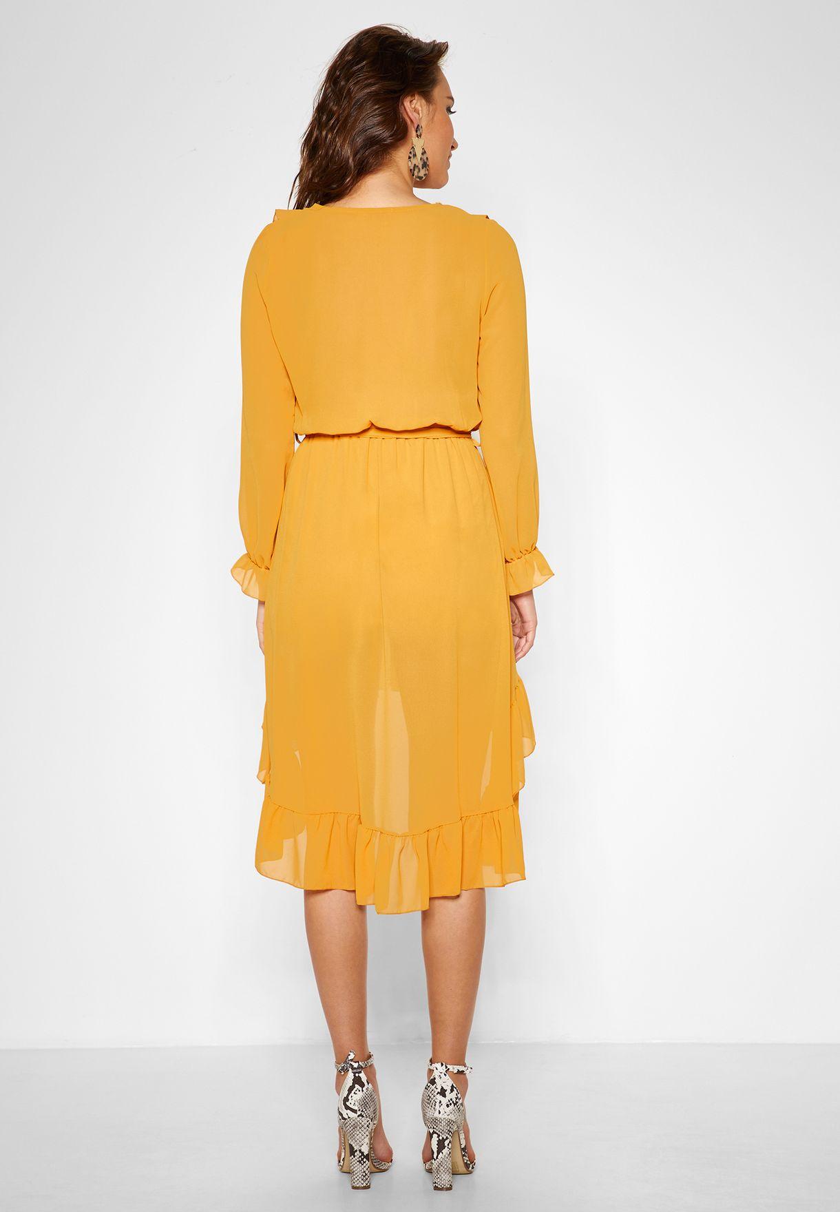 Ruffle Trim Self Tie Midi Dress