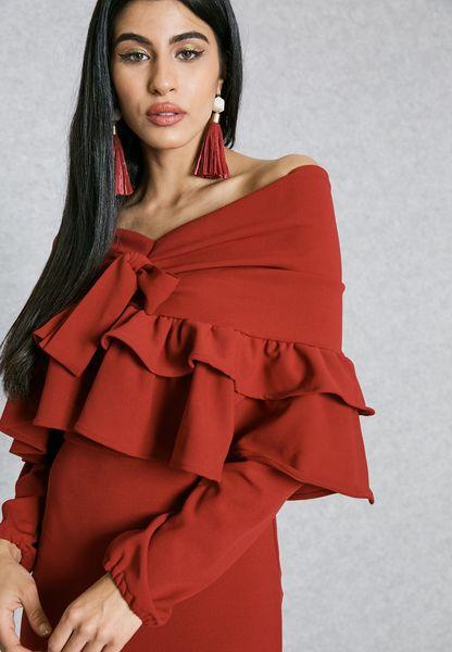 Tiered Ruffle Bardot Detail Dress