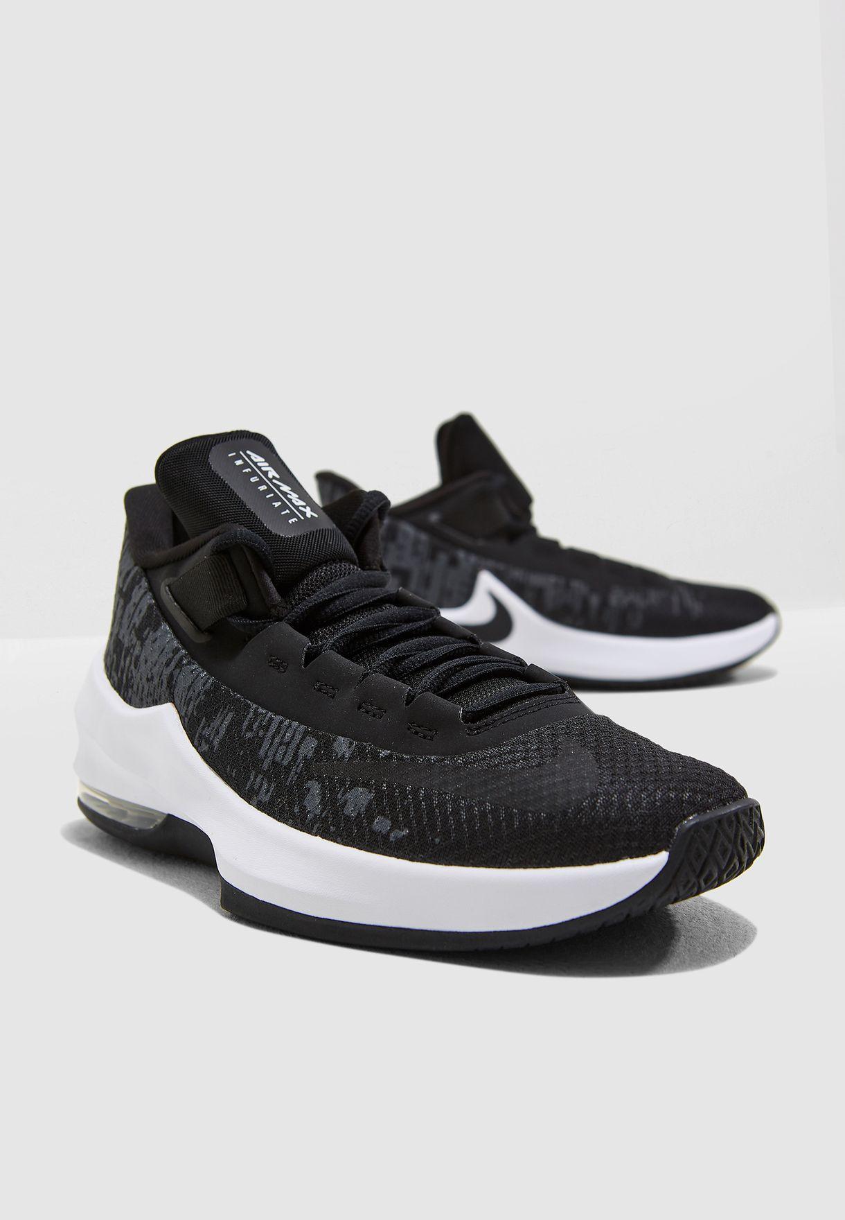 db2dbd7b9b1706 Shop Nike black Youth Air Max Infuriate II AH3426-001 for Kids in ...