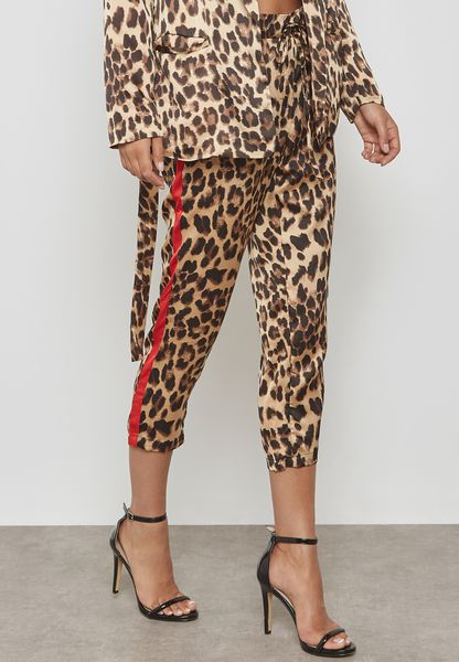 Leopard Print Side Paneled Pants