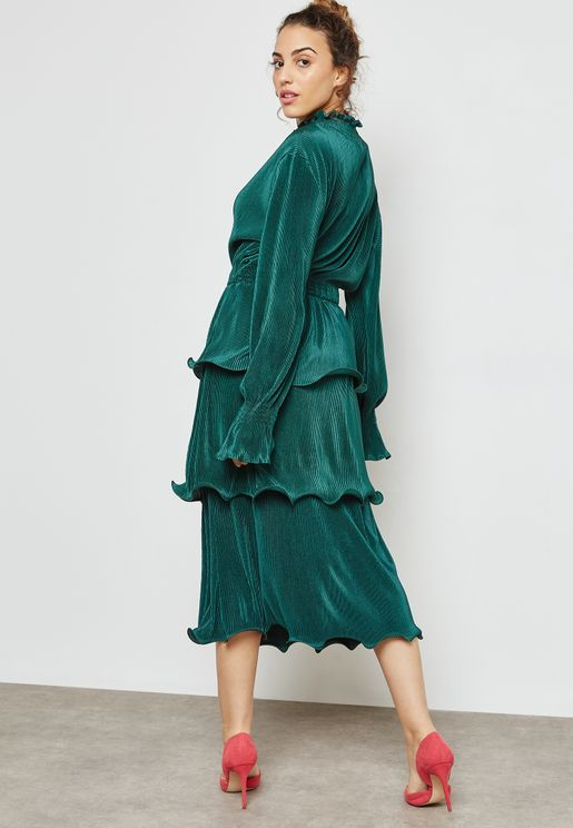 Tiered Ruffle Plisse Dress