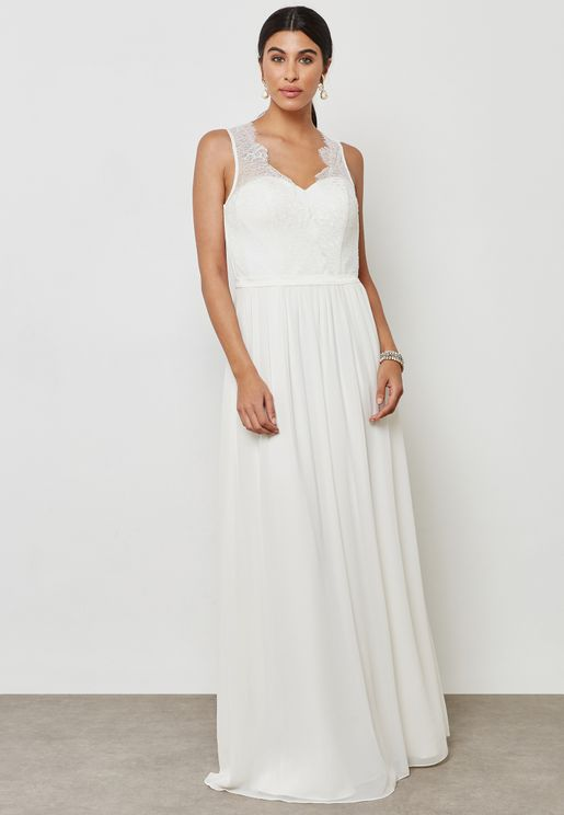 Lace Detail Bridal Maxi Dress